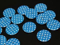 MODRÉ knoflíky s puntíky velké 23mm, á 1ks