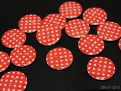 ČERVENÉ knoflíky s puntíky velké 23mm, á 1ks