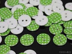 Knoflík puntíky 15mm ZELENÝ, á 1ks