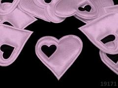 Aplikace saténová srdíčko v srdci RŮŽOVÉ bal. 5ks