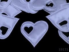 Aplikace saténová srdíčko v srdci SV.MODRÉ, bal. 5ks