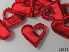 Aplikace saténová srdíčko v srdci ČERVENÉ, bal. 5ks