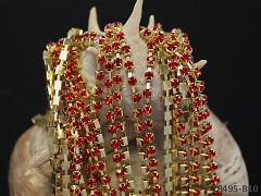 Zlatá borta štrasová ČERVENÉ kamínky 3mm