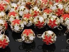 Červené /zlaté rolničky  vánoční ozdoba dekorace balení 5ks