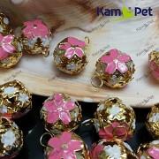 Růžové /zlaté rolničky 17mm vánoční ozdoba dekorace, balení 5ks
