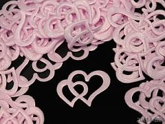 Aplikace srdce dvojité růžové, bal. 5ks